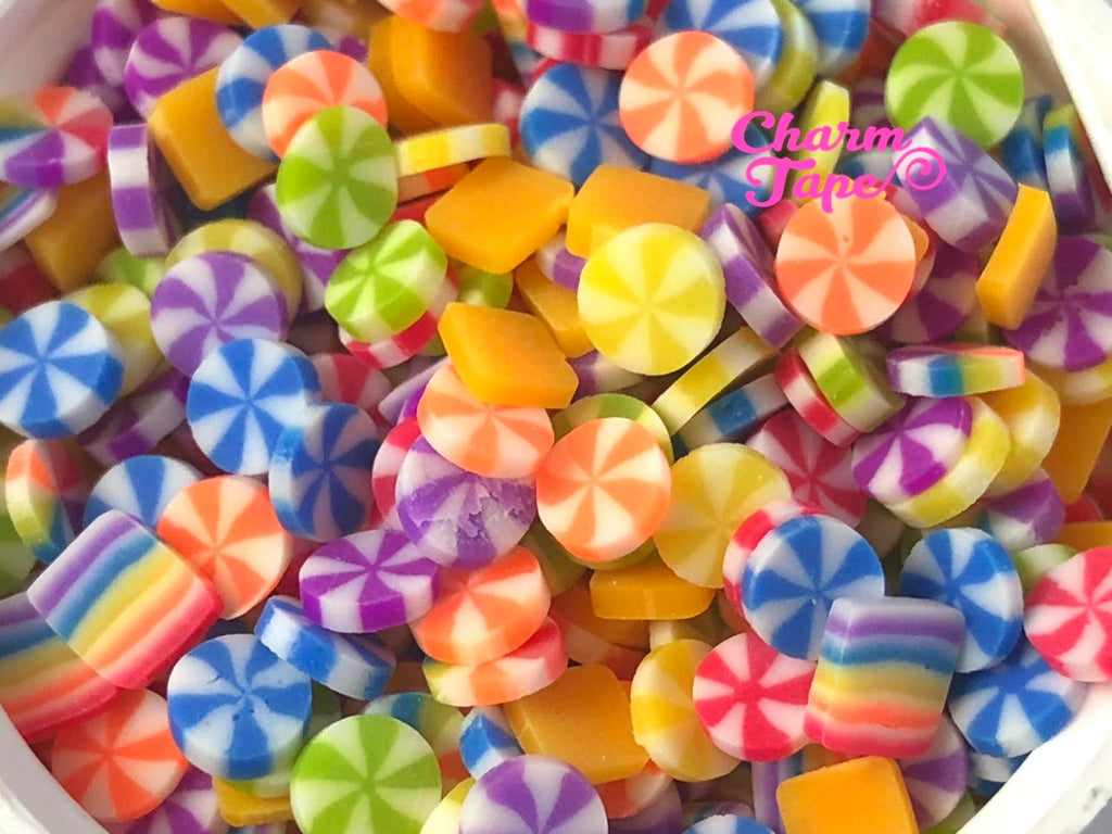 Rainbow Polymer Clay Confetti Sprinkle Topping Tiny Decoden Faux Miniature Fake Food 5mm 3g15g30g50g