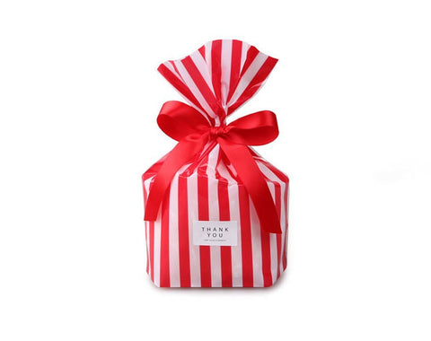 10/50 bags Stripe Cookies Bag // Cello Bags // Poly Bags // Party Thank You Bags Set CB35