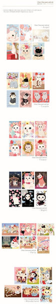 Cat Postcard set Couple in love 6 sheets by Korea Jetoy Choo Choo cats