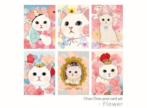 Choo Choo cat Postcard set Romantic flowers 6 sheets by Korean Jetoy