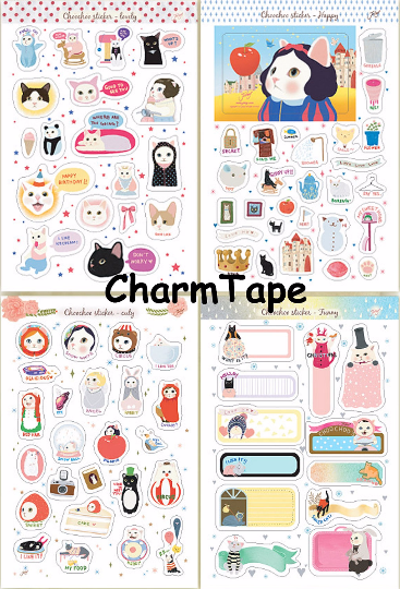 Choo Choo cat adhesive Stickers Set Paper and PVC 8 Sheets with folder ss1017