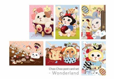 Cat Postcard Choo Choo cats -Wonderland 6 sheets by Korean Jetoy