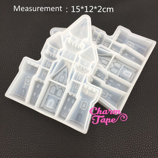 Castle shape Silicon silicone mold for uv resin / Home Decorations flexible mold Z0090