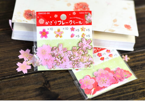 Cherry Blossoms and Petals - Sakura Stickers - Flower Petals - Gold Foil 40 pieces