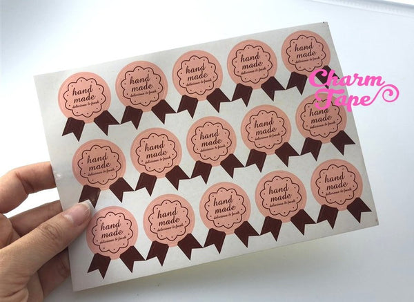 "75/150ct ""hand made"" Pretty Pink Paper Stickers For Gift Packing Packaging 5/10 sheets GS040"