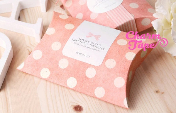 "10pcs - Polka Dot Pillow Boxes, Blue or Pink , Wedding Box, Baby Shower Boxes, Holiday Gift Size 5 1/2"" x 4"" x 1"""