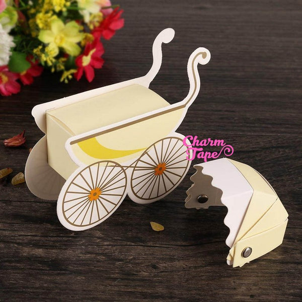 Set of 25/50  Baby Strollers pram favor box, Baby Shower, pink, blue, yellow gender reveal party, gift box PB054
