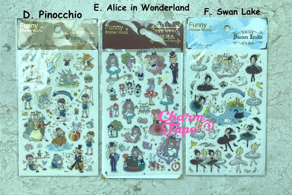 Fairy Tale Gold Foil Stickers - Pinocchio, Alice in Wonderland, Swan Lake by Funny SS330