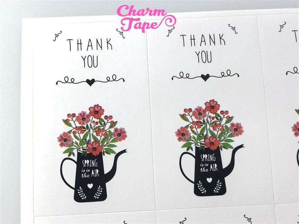 "30/60ct ""Thank you"" Flower Paper Stickers For Gift Packing Packaging 5/10 sheets GS036"