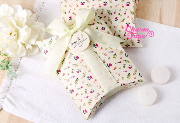 10/5pcs Floral Flowers Gift Box, Pillow Boxes For Candy, Treat - Party Favors Bags PB030