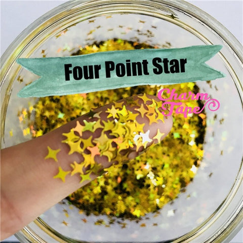 Four Point Stars Loose glitters 4mm UV resin, nail gel, acrylic nail, nail polish glitter, nail stamping