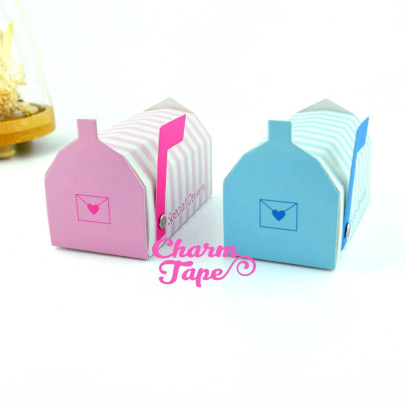 Set of 25/50  Mail Box mailbox favor box, Baby Shower, pink, blue, gender reveal party, gift box PB056