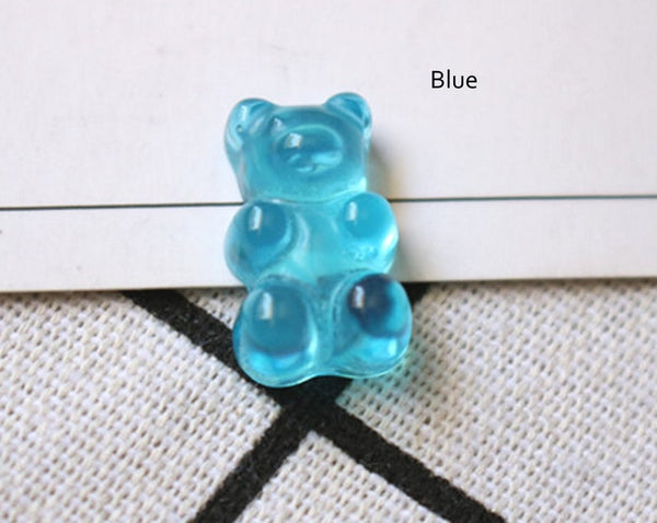 8pcs Miniature Gummy Bear Jelly Bears Faux Candy Flat back Cabochons M023