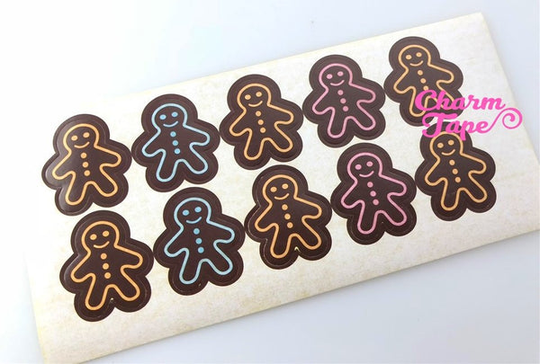 50/100ct Gingerbread man 3cm Paper Stickers For Gift Packing Packaging 5/10 sheets GS039