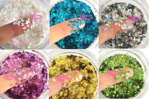 Holographic Butterfly Loose glitters, Butterflies glitter 3mm UV resin, nail gel, acrylic nail, nail polish glitter, nail stamping