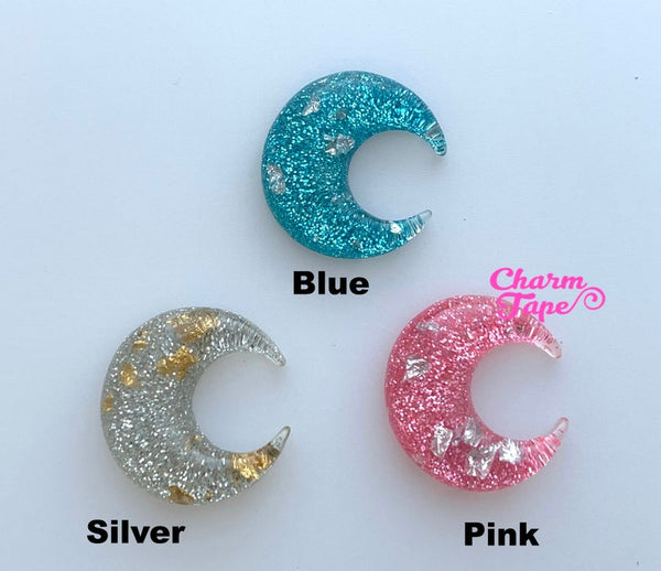 25mm Glitter Moon Crescent Gold / Silver foil Resin Cabochon Cab Flat Back M054