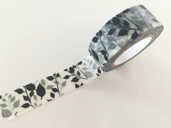 Grey & Black Leaf Washi Tape 8m x 15mm WT840