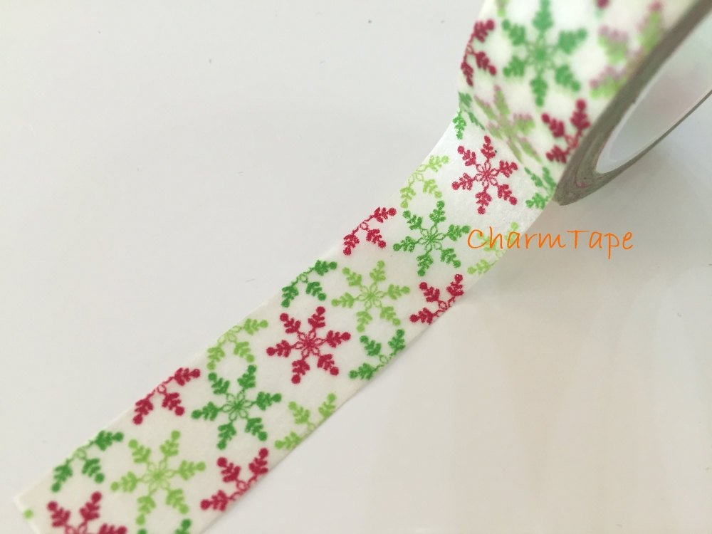 Festive Washi tape 15mm - Green & Red Snowflakes 10 meters WT737
