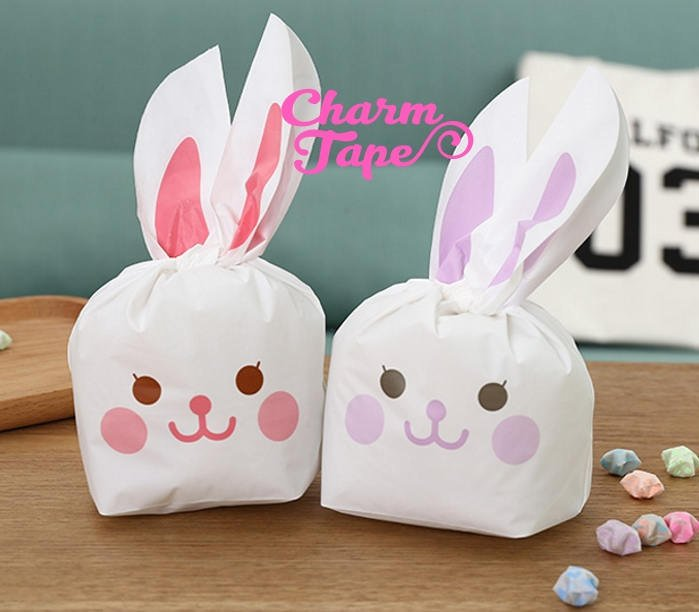 Happy Rabbit Bunny Bags // Cello Bags // Party Bags Set of 25 bags CB25 10x17x5 cm