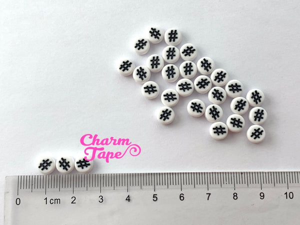 100 Hashtag for Letter Beads - 7mm Black hash tags Round Beads for use with Alphabet Beads AB21