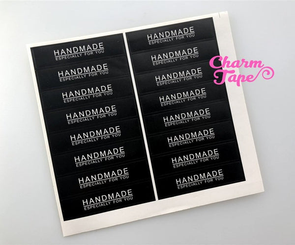 "80/160ct ""HANDMADE"" 7x1.5 Black Paper Stickers For Gift Packing Packaging 5/10 sheets GS021"