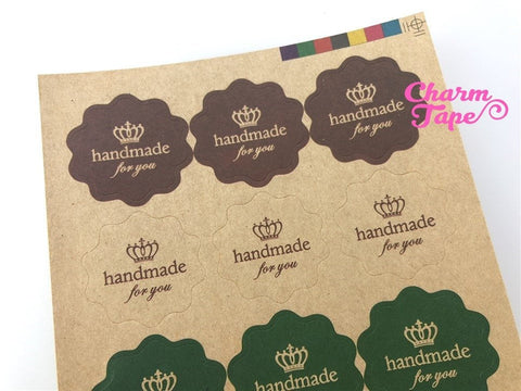 "60/120ct ""HANDMADE"" 3cm Kraft Paper Stickers For Gift Packing Packaging 5/10 sheets GS027"
