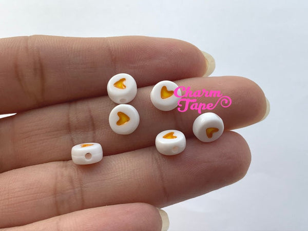 100 Hearts for Letter Beads - 7mm Little gold Heart Round Beads for use with Alphabet Beads AB32