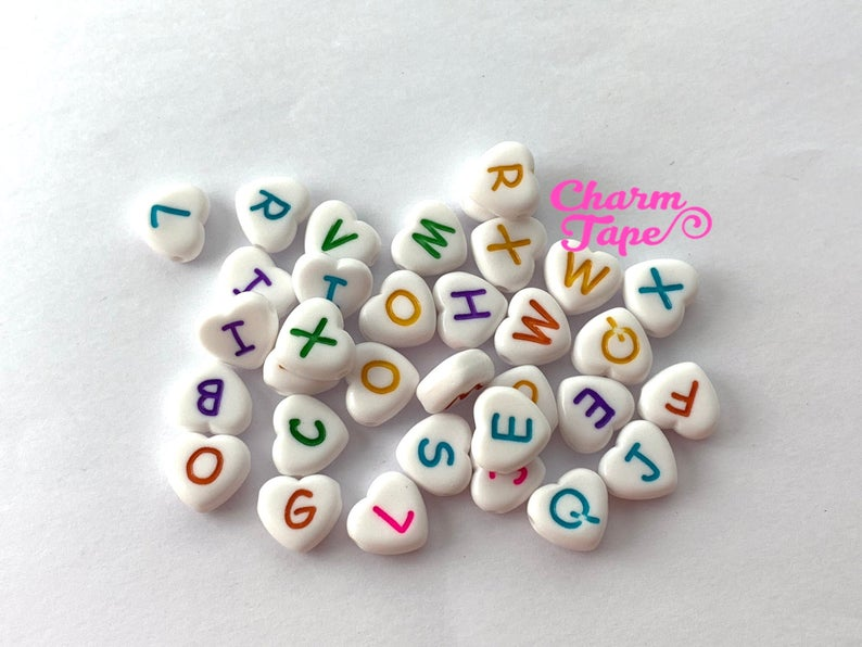 100 White and Multi-colored 11mm Heart Shape Alphabet Beads, Acrylic Letter Beads AB24