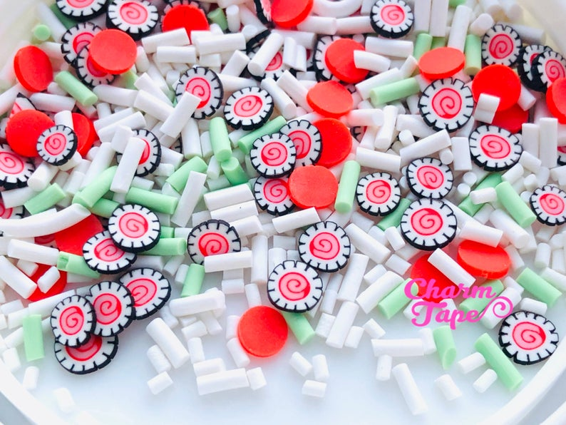 I Heart Sushi Mix candy sprinkle Confetti polymer clay Topping Tiny Decoden Faux Miniature Fake Food 5mm 3g/15g/50g sp524
