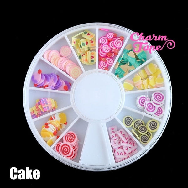 Polymer Clay Slices - Fruit / Heart / Cakes For Slime making Manicure Nail Art Wheel 120 pieces