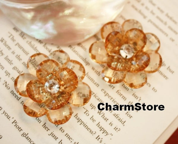 Tea Flower Bling open blossom CABOCHONS 4pcs 45mm - CharmTape - 3