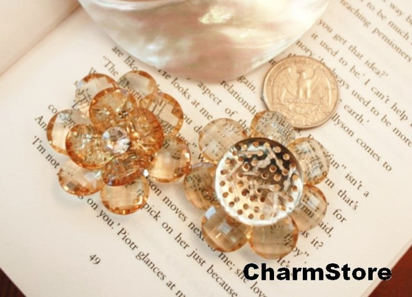 Tea Flower Bling open blossom CABOCHONS 4pcs 45mm - CharmTape - 4