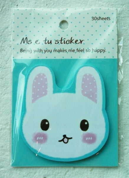 Sticky Memo Note Pad - White Rabbit with pink polka dots Ears (l.blue) - CharmTape - 1