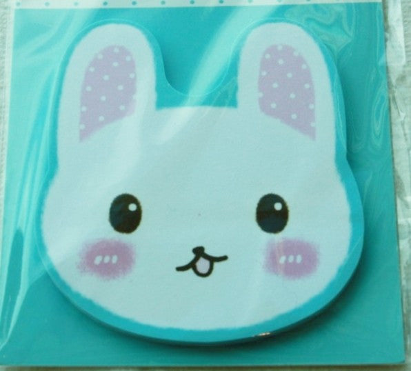 Sticky Memo Note Pad - White Rabbit with pink polka dots Ears (l.blue) - CharmTape - 2