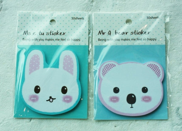 Sticky Memo Note Pad - White Rabbit with pink polka dots Ears (l.blue) - CharmTape - 3