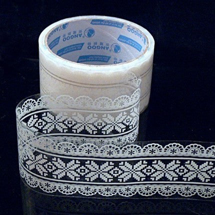 Transparent Deco tape Victorian White Lace - Snow flake (05) - CharmTape - 1