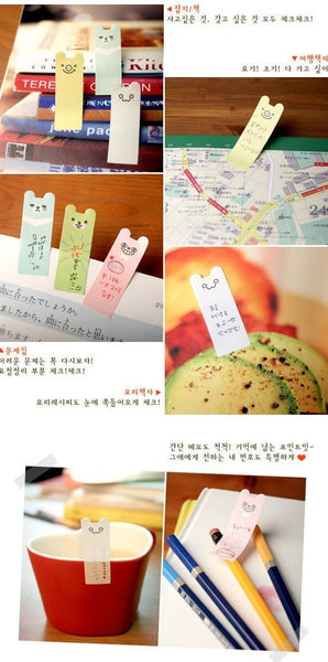 Sticky Memo Note Pad Colorful Happy Bear - CharmTape - 3