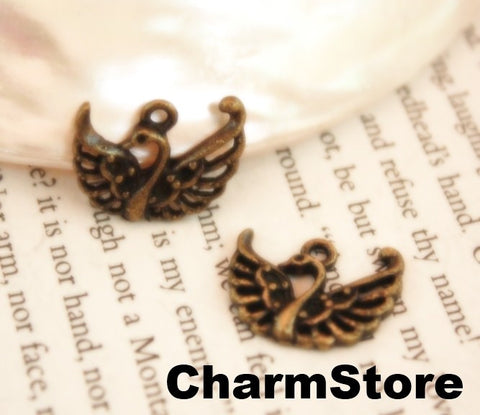 Swan bird charms Antique bronze Metal Pendant 20pcs 20x16mm (040) - CharmTape - 1