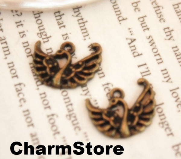 Swan bird charms Antique bronze Metal Pendant 20pcs 20x16mm (040) - CharmTape - 3
