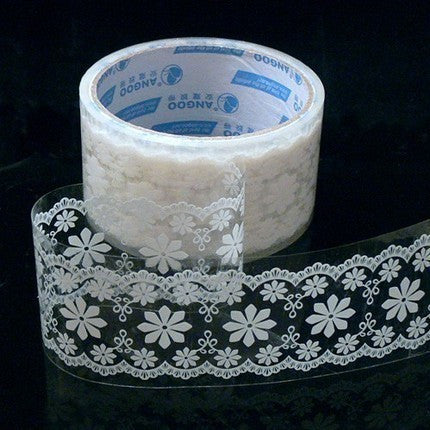 Victorian White Lace Transparent Deco Tape - Floral Pattern (07) - CharmTape - 1