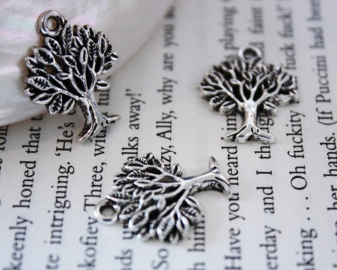 Tree Antique Silver Brass Charm Set 10pcs 17x22mm (062) - CharmTape - 1