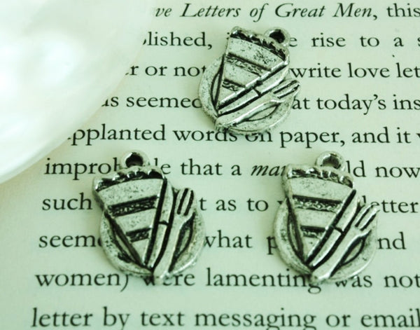 Slices of cake Antique Silver Brass Charm Set 8pcs 20x15mm (068) - CharmTape - 1