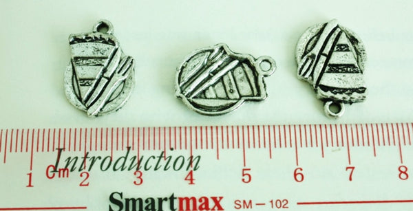 Slices of cake Antique Silver Brass Charm Set 8pcs 20x15mm (068) - CharmTape - 3