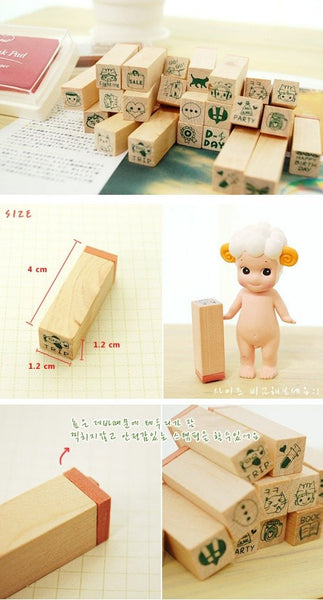 Happy Life Diary Cute Deco Stamp Set (1 wooden box, 25 stamps) - CharmTape - 2