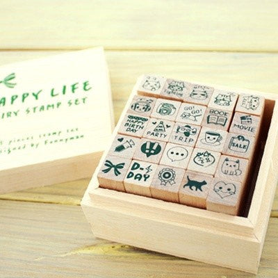 Happy Life Diary Cute Deco Stamp Set (1 wooden box, 25 stamps) - CharmTape - 1