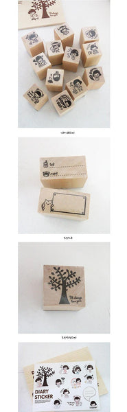 Wood mounted rubber stamps Kit Series (15 pieces with wooden box) - CharmTape - 4