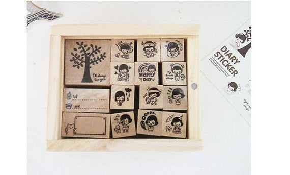 Wood mounted rubber stamps Kit Series (15 pieces with wooden box) - CharmTape - 1