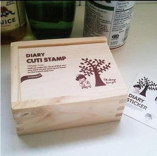Wood mounted rubber stamps Kit Series (15 pieces with wooden box) - CharmTape - 2