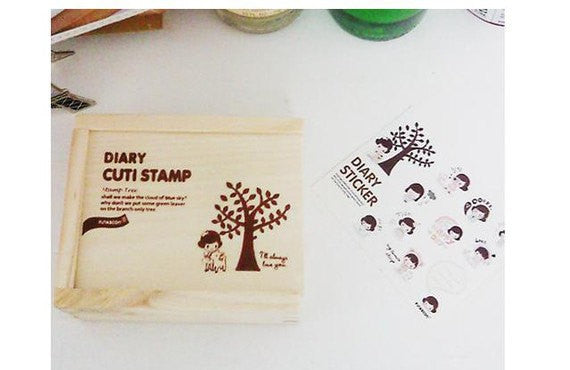Wood mounted rubber stamps Kit Series (15 pieces with wooden box) - CharmTape - 3