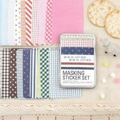 Washi Masking Sheet Deco Adhesive Tape - Fabric pattern Masking Stickers in tin box - CharmTape - 1